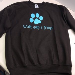 Dog Paw Hoodie Sweatshirt Brown Blue